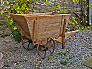 old wooden wheelbarrow